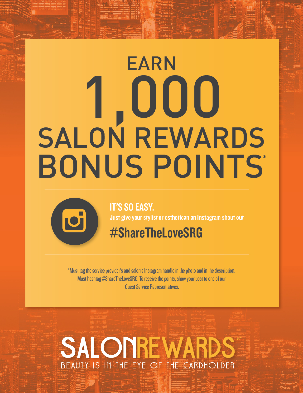 Earn 1,000 Salon Reward Bonsu Points for Instagram shout out