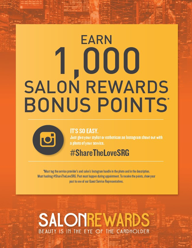 Earn 1,000 Salon Reward Bonus Points for Instagram shout out